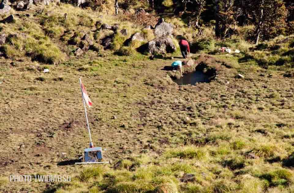 Lokasi penampungan air di pos 10 gunung Bawakaraeng
